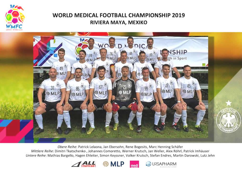 Deutsche Fußball-Ärztemannschaft im Jahr 2019